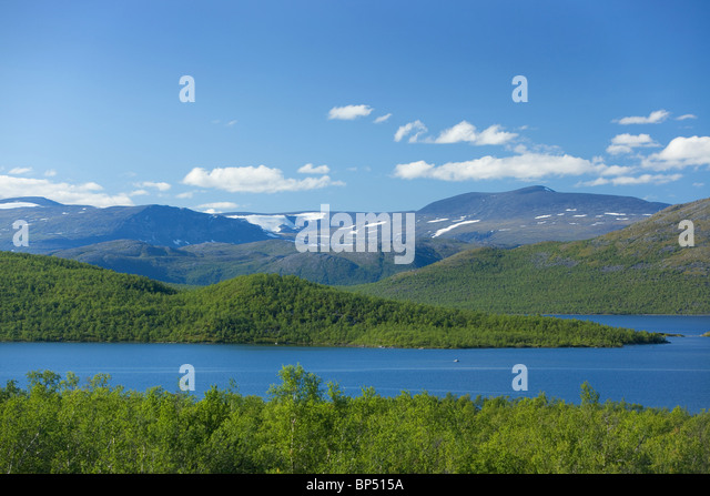 Landscape of mountains in Lapland, Sweden - Stock Image