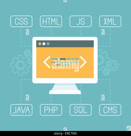 Web development concept in flat style - programming and coding concept - internet tecgnologies - Stock-Bilder