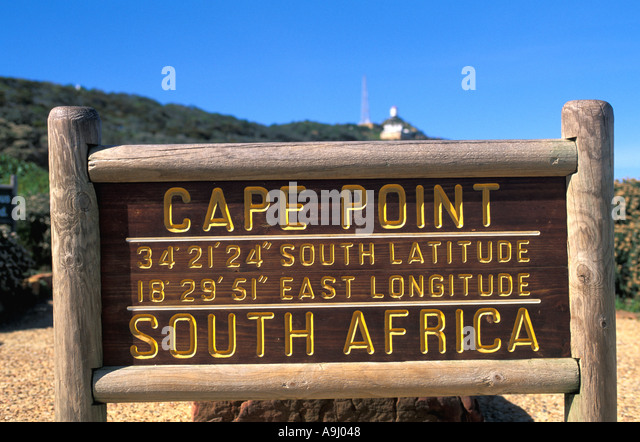 South Africa Cape Point Sign Cape of Good Hope Cape Peninsula National Park - Stock Image