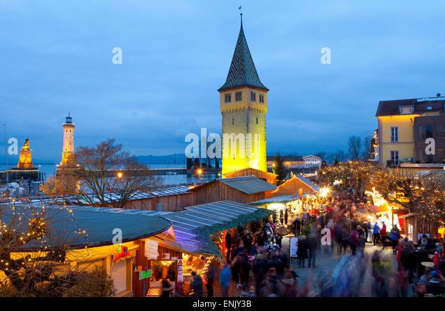Christmas Market along Lindau's Historic Port, Lindau im Bodensee, Germany, Europe - Stock Image