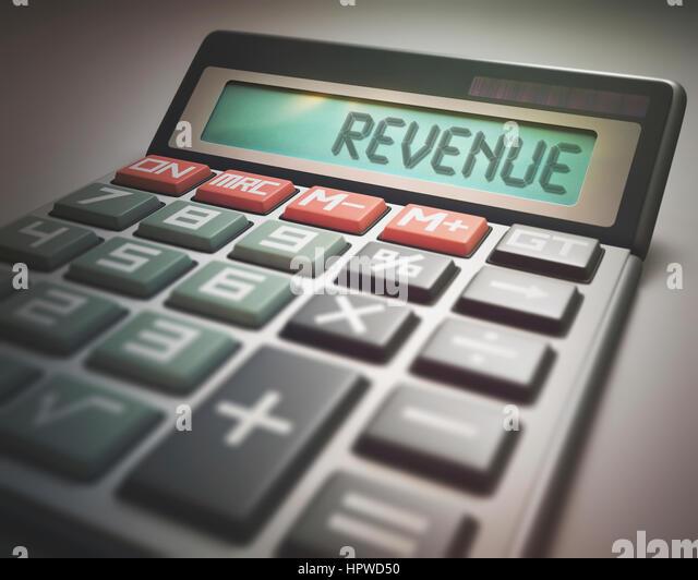 Calculator with the word revenue, illustration. - Stock-Bilder