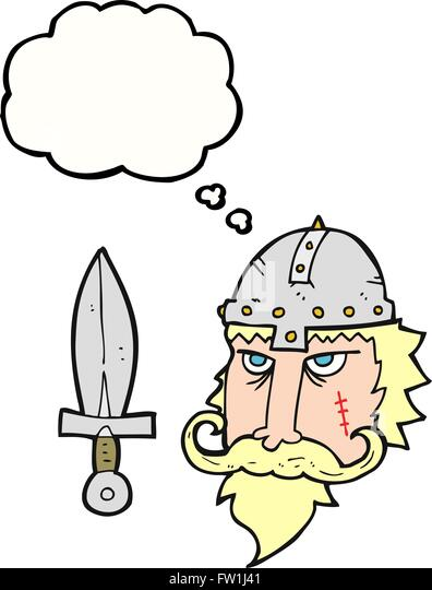 freehand drawn thought bubble cartoon viking warrior - Stock Image