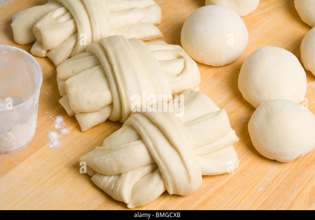 Home made dough for Chinese mantou - Stock Image