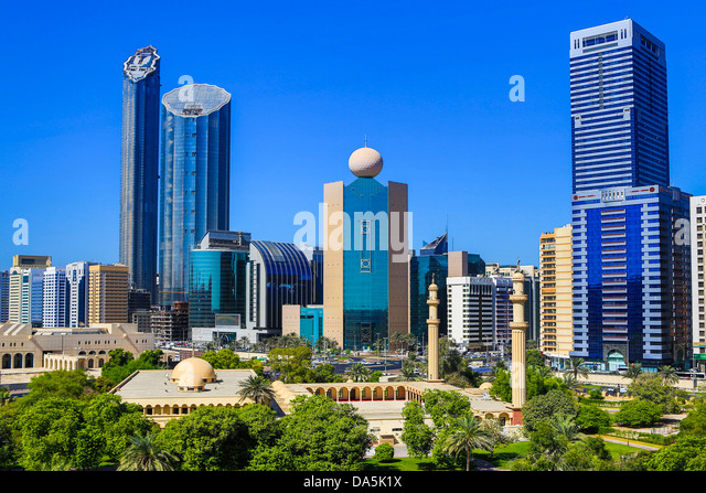 United Arab Emirates, UAE, Middle East, Abu Dhabi, City, Skyline, Etisalat Tower, Etisalat, Tower, Al Dhafrah, District, - Stock Image
