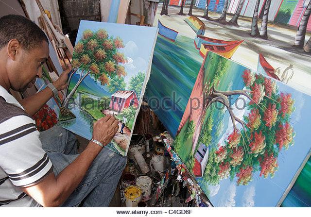 Santo Domingo Dominican Republic Ciudad Colonia Mercado Modela gallery studio painting art canvas acrylic paintbrush - Stock Image