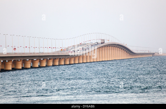 King Fahd Causeway over the Gulf of Bahrain between Kingdom of Bahrain and Kingdom of Saudi Arabia - Stock Image