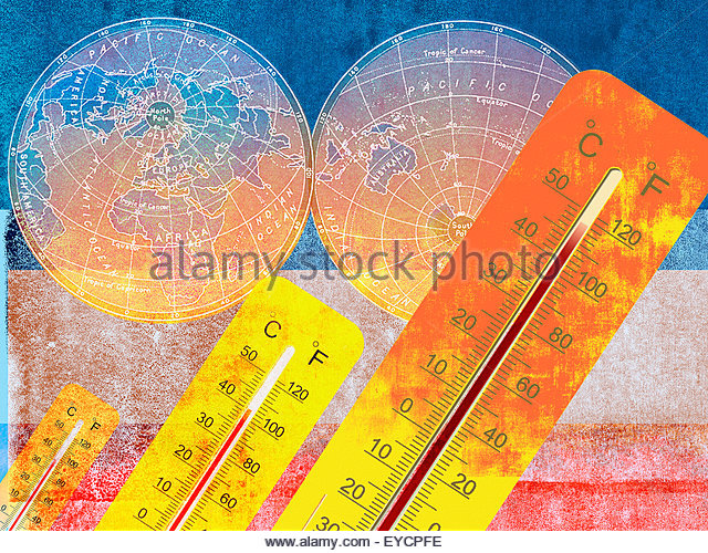 Thermometers measuring global warming in northern and southern hemispheres of world map - Stock Image