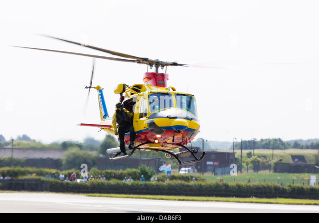 Dutch Airforce Agusta AB412sp Search and rescue helicopter at RAF Waddington Airshow 2013 - Stock Image
