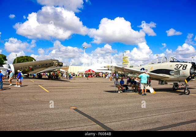 A C-47 Skytrain and T-28 Trojan veteran aircraft at the Fort Myers Page Field airport open day - Stock Image