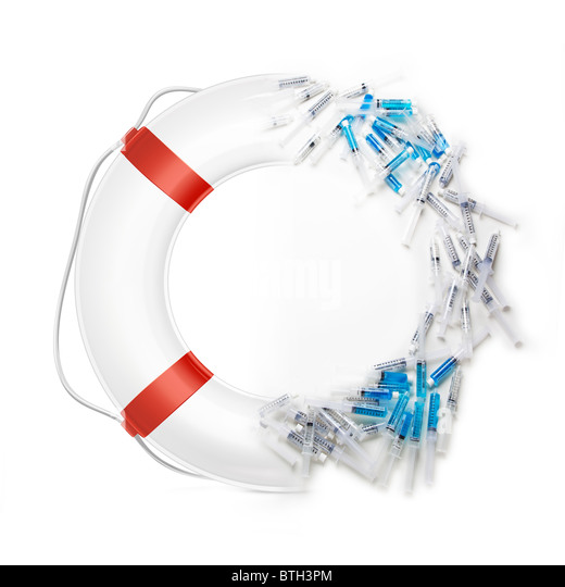 lifebuoy life ring with shots or syringes making up half of it. - Stock Image