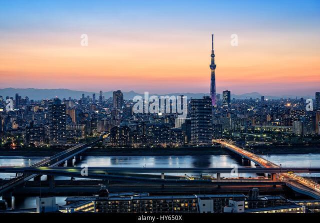 Japan, Honshu island, Kanto, Tokyo, sunset above the city. - Stock Image