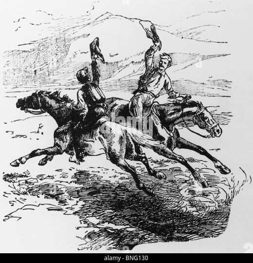 Pony Express, print - Stock Image
