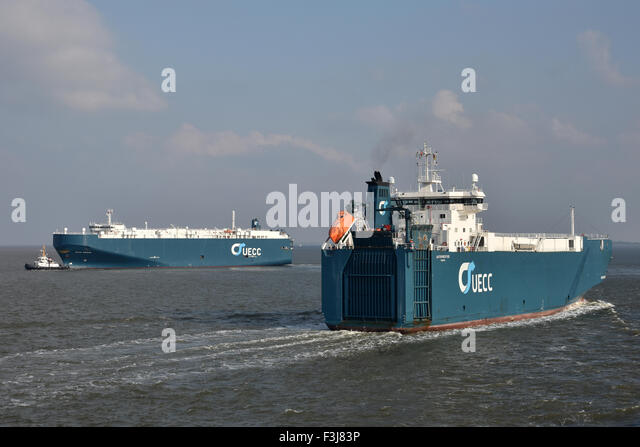 Meeting of UECC-carcarriers Autoprestige and Asian Breeze - Stock Image