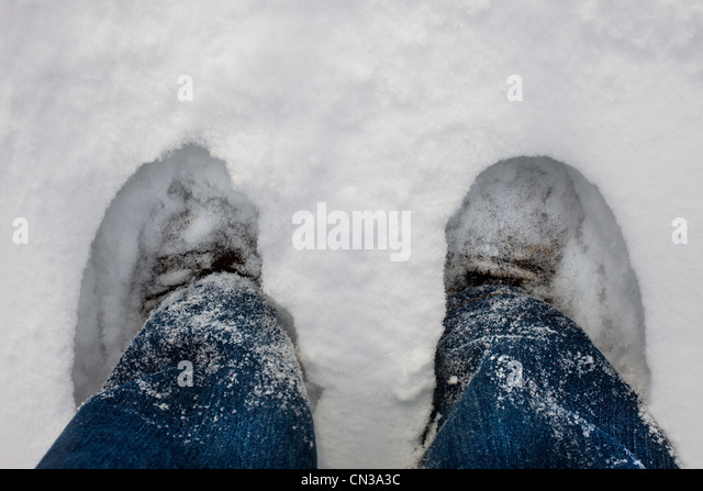 Feet deep in the snow - Stock Image