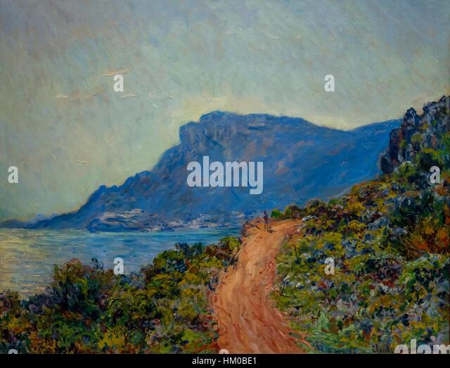 La Cornishe near Monaco, by Claude Monet, 1884, oil on canvas, Rijksmuseum, Amsterdam, Netherlands, Europe, - Stock Image