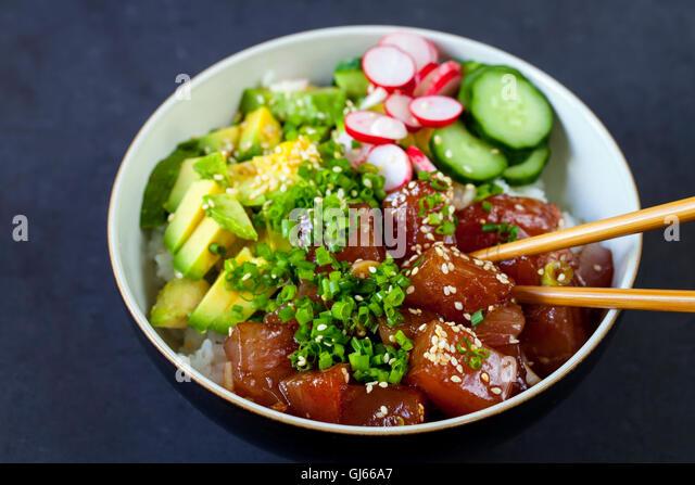 Hawaiian tuna poke - Stock Image