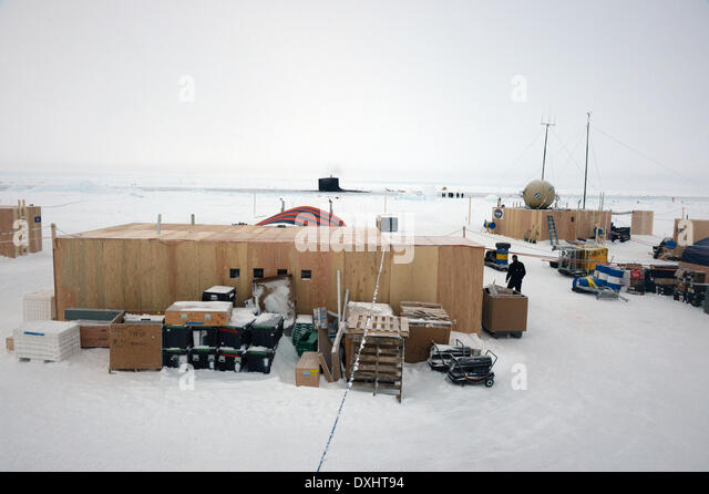 US Navy Ice Camp Nautilus built on a sheet of ice adrift on the Arctic Ocean during ICEX 2014 March 22, 2014 off - Stock Image