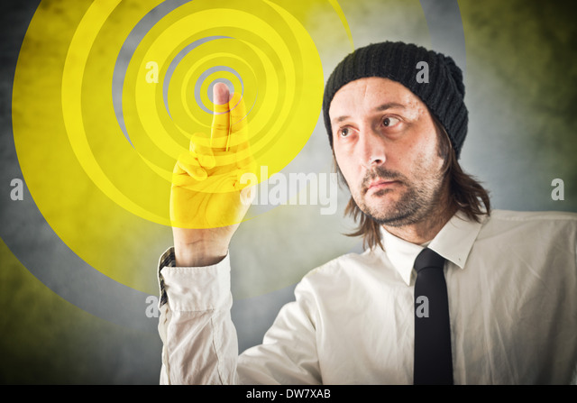 Graphic designer pressing touch screen button and starting creative process - Stock Image