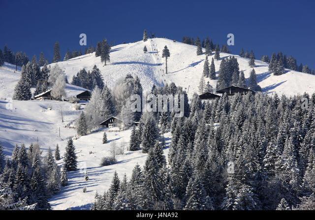 Germany, Bavaria, coil stone region, Mangfallfgebirge, Tatzelwurm, Sudelfeldregion, field Sudel, ski lift, ski runway, - Stock Image
