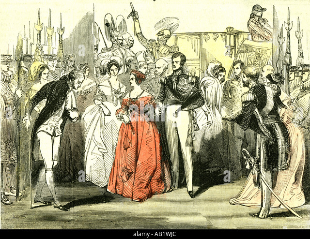 Queens visit to the Opera House 1846 London - Stock Image