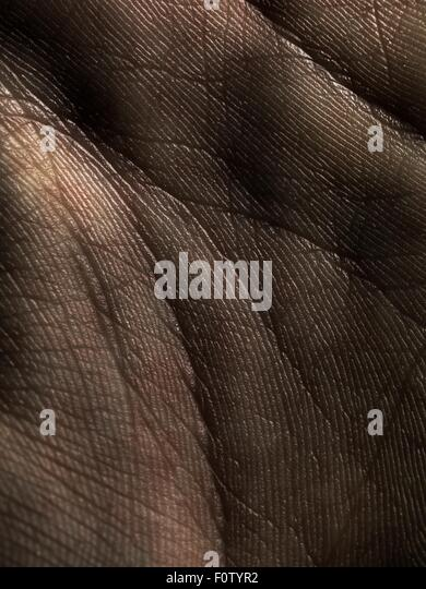 Close up of lines on palm of hand - Stock Image
