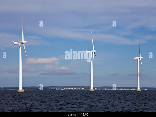 Middelgrunden offshore wind park or farm outside Copenhagen harbour. Owners Dong Energy and Middelgrundens Wind - Stock Image