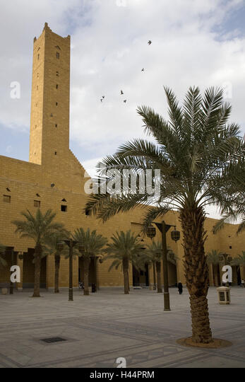 Saudi Arabia, Riyadh, building, tower, forecourt, palms, - Stock Image