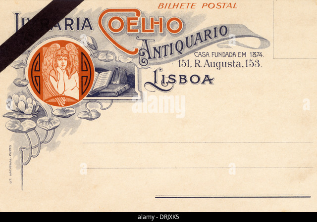 Lisbon, Portugal - Antiquarian Bookseller Postcard - Stock-Bilder