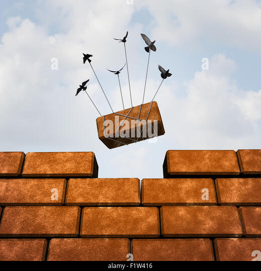Build a wall business concept as a group of birds placing a brick to complete a wall as a puzzle metaphor and working - Stock-Bilder