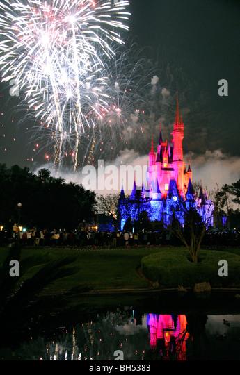Fireworks, Disneyworld, Orlando, Florida, USA - Stock Image