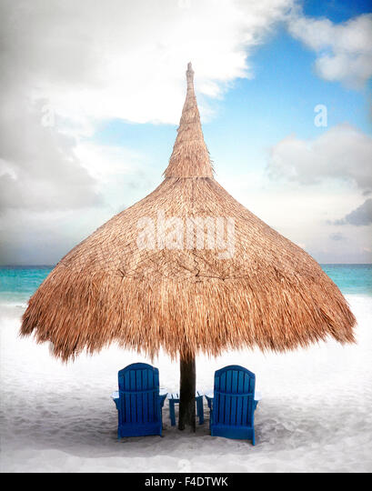 A beach palapa at  Maroma Spa and Resort. Yucatan, Mexico - Stock Image