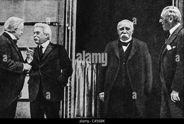 Lloyd George, Clemenceau, Orlando, Wilson during the Paris Peace Conference in 1919 - Stock Image