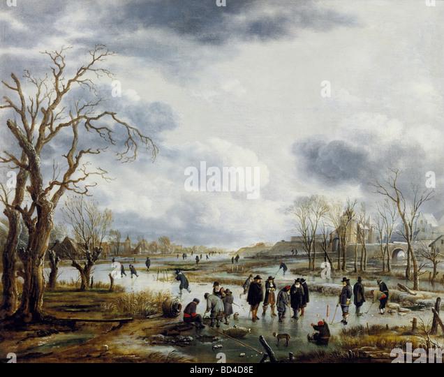 fine arts, Neer, Art van der (1603 - 1677), painting, 'Ijsvermaak buiten de Stadtswal', Cooectie Museum, - Stock-Bilder