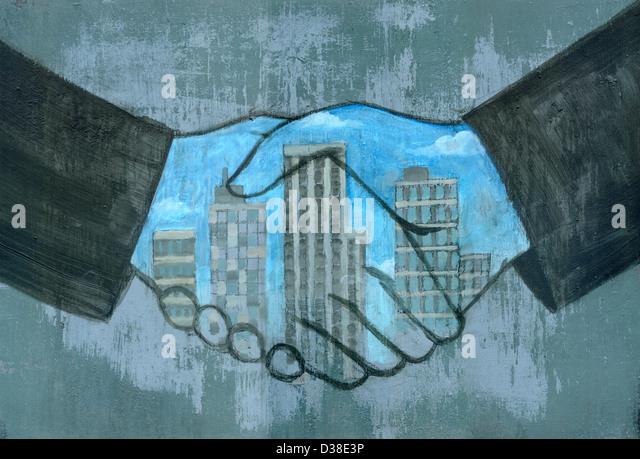 Illustrative image of merger's hands sealing a deal - Stock-Bilder