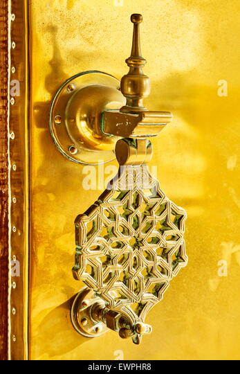 Decorative door knocker at the Royal Palace, Fez, Morocco, Africa - Stock Image