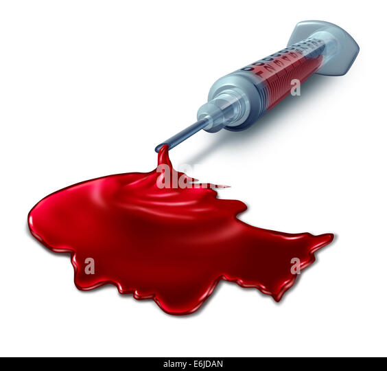Blood test analysis medical concept as a syringe pouring human blood shaped as a head as a health care symbol for - Stock Image