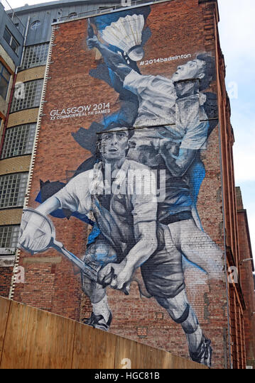 Glasgow commonwealth games Badminton mural, Scotland - Stock Image