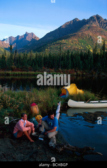 AK Interior Selby Lake Gates of the Arctic Natl Park Brooks Range Campers Tent Canoe - Stock Image