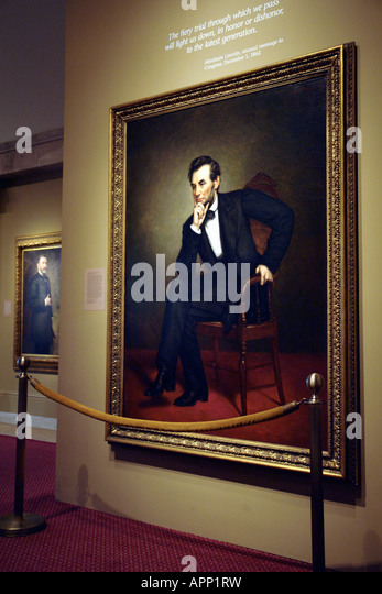 Painting of 16th USA President Abraham Lincoln - Stock Image