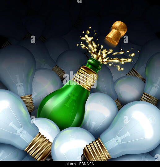 Happy new year idea concept as a group of light bulbs and a green glass Champagne or sparkling wine bottle shaped - Stock-Bilder
