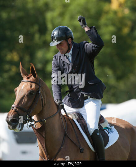 Hickstead, UK. 27 June 2015.  Guy WILLIAMS [GBR] celebrates after his wining round on CASPER DE MUZE to win The - Stock Image