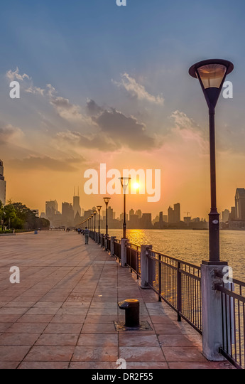 Shanghai Bund at Sunset, Shanghai, China - Stock Image