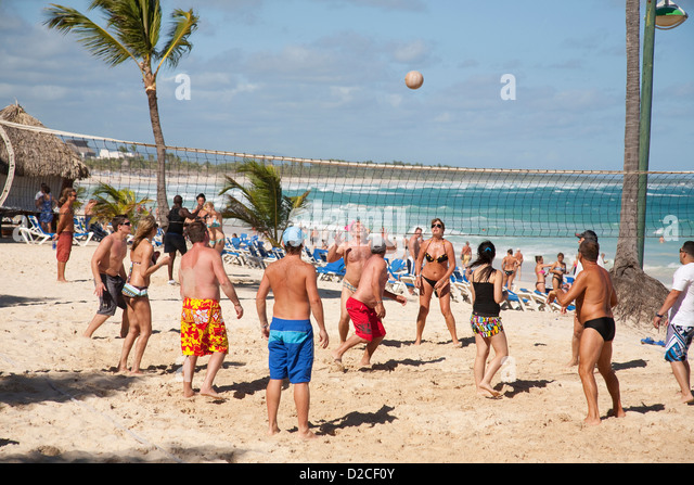 america, caribbean sea, hispaniola island, dominican republic, punta cana, hotel barcelo punta cana, beach, beach - Stock Image