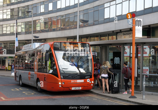 Metrolink free bus in Manchester outside Piccadilly Station - Stock Image