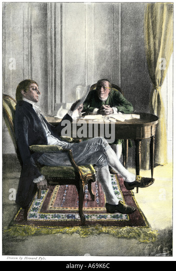 Benjamin Franklin and Richard Oswald in Paris discussing the peace treaty to end the American Revolution - Stock-Bilder