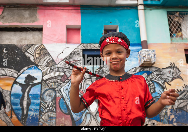 Boy ready for a performance in the streets of La Habana, Cuba, Caribbean. - Stock Image