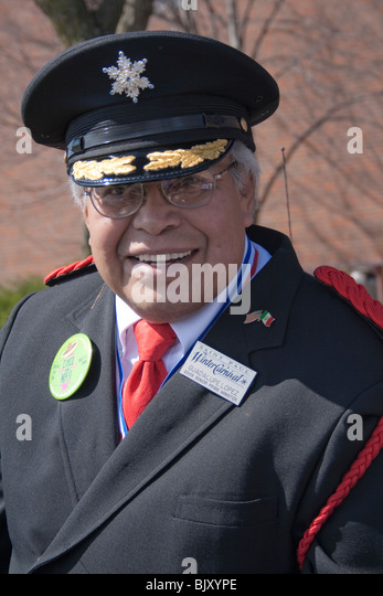 St Paul Winter Carnival senior Latino royalty participating in the parade. St Paul Minnesota USA - Stock Image