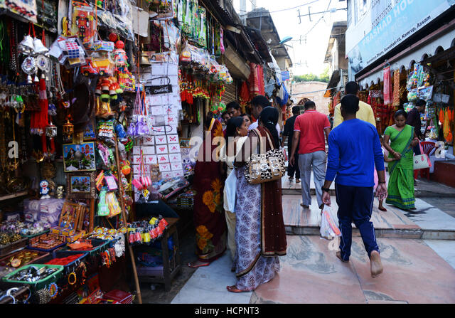Souvenir shops outside Kamakhya temple in Guwahati, Assam. - Stock Image