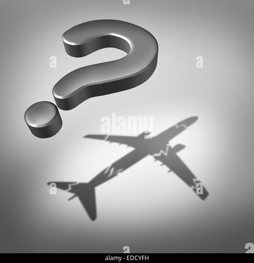 Aviation disaster question and air safety concept as a flying three dimensional question mark with a cast shadow - Stock Image