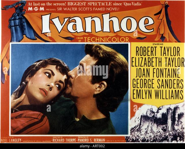 IVANHOE poster for 1952 film with Elizabeth Taylor and Robert Taylor - Stock-Bilder